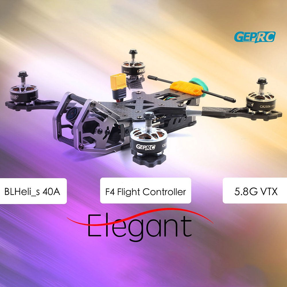 GEPRC ELEGANT BNF w/ Frsky R-XSR Receiver 230mm 2-5S 40A BLHeli_s Full 3K Carbon Fiber 600TVL FPV Racing Drone for Competition Training
