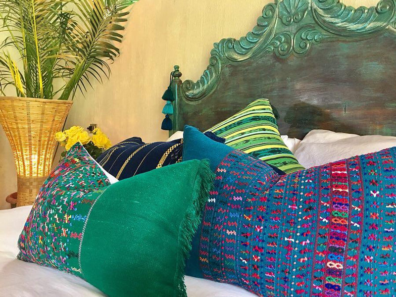 Guatemalan pillow, Green Huipil pillow, hand embroidered teal pillows, Beach boho cushion