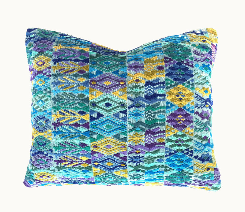 Guatemalan pillow, Huipil pillow, Blue boho pillow