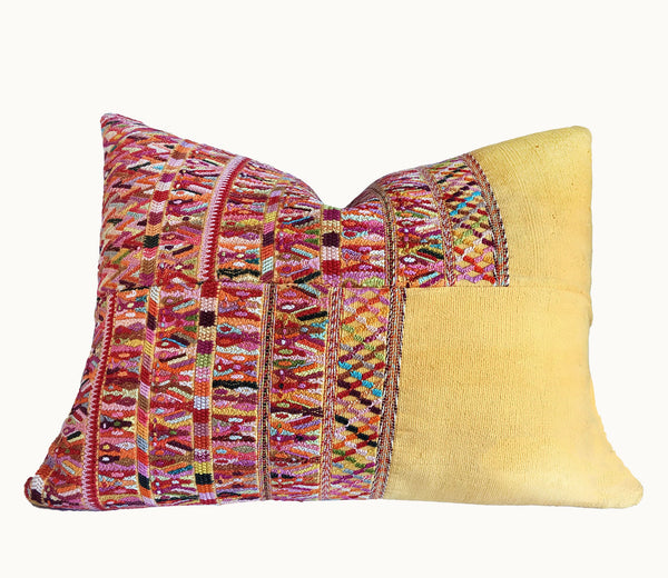 Guatemalan pillow, Yellow huipil pillow, Yellow and pink embroidered pillow, colorful boho cushion