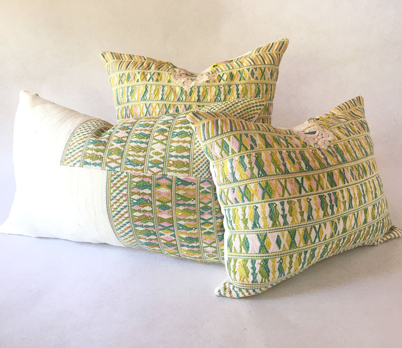 Guatemalan pillow, huipil pillow, pink and green bohemian pillow, shabby chic pillow