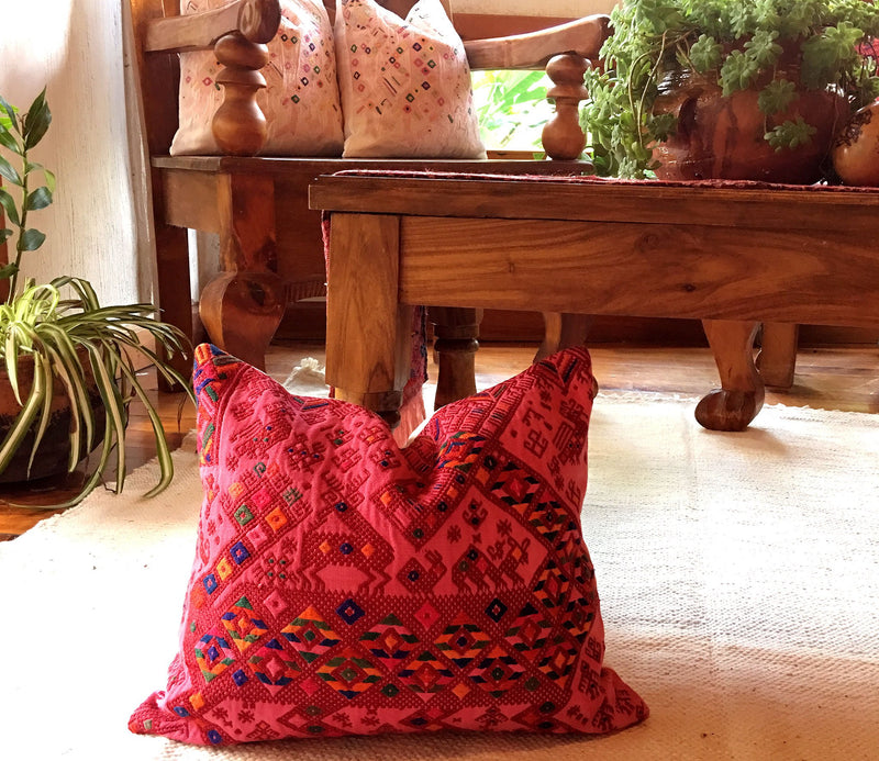 Guatemalan pillow, Huipil pillow, pink handwoven pillow, bright pink boho throw pillow