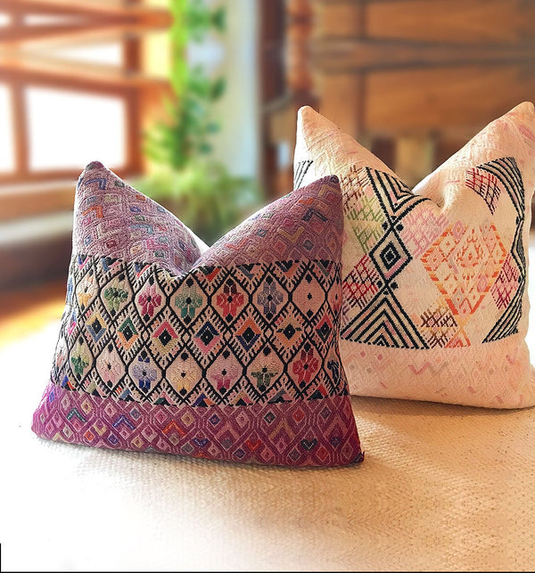 Guatemalan pillow, huipil pillow, Mauve bohemian pillow, embroidered throw pillow