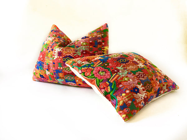 Guatemalan pillow, Orange huipil pillow, orange bohemian pillow, tribal pillow, colorful pillow