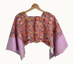 Pink Guatemalan huipil, Pink embroidered poncho, Pink cape