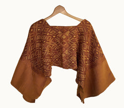 Guatemalan huipil, Brown Boho Poncho | Vintage hand embroidered cape