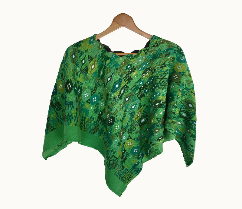 Guatemalan Huipil, Green embroidered bohemian poncho cape
