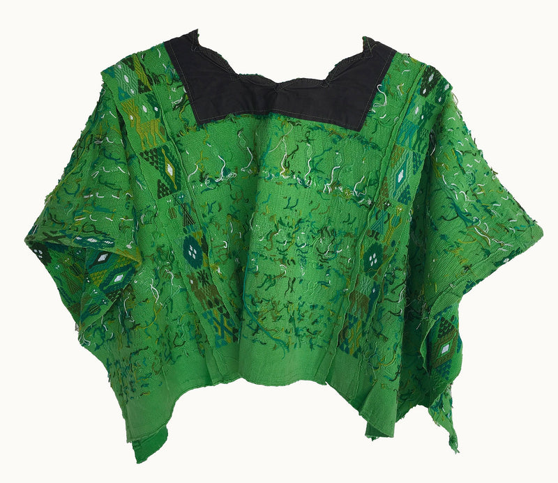 Guatemalan Huipil inside details, Green embroidered bohemian poncho cape