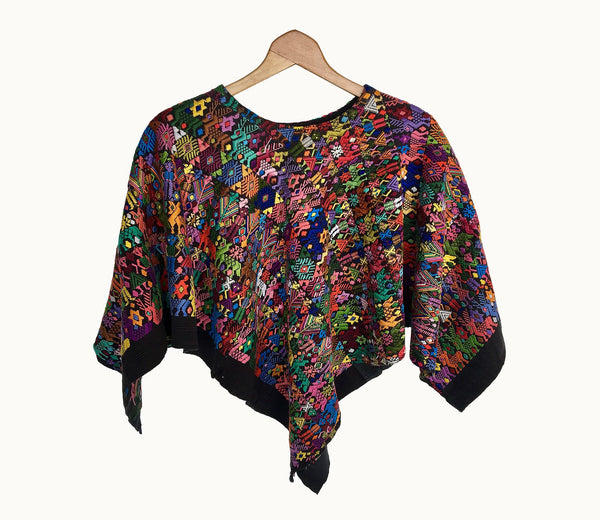 Guatemalan huipil, Colorful Boho Poncho | Vintage hand embroidered cape