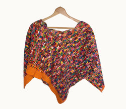 Guatemalan huipil, Colorful Boho Poncho | Hand embroidered orange cape