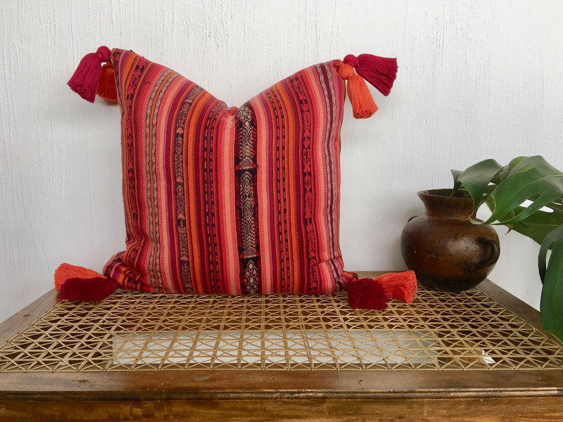 Guatemalan Corte Pillow, vintage, hand woven pink and coral striped ikat throw cushion with tassels
