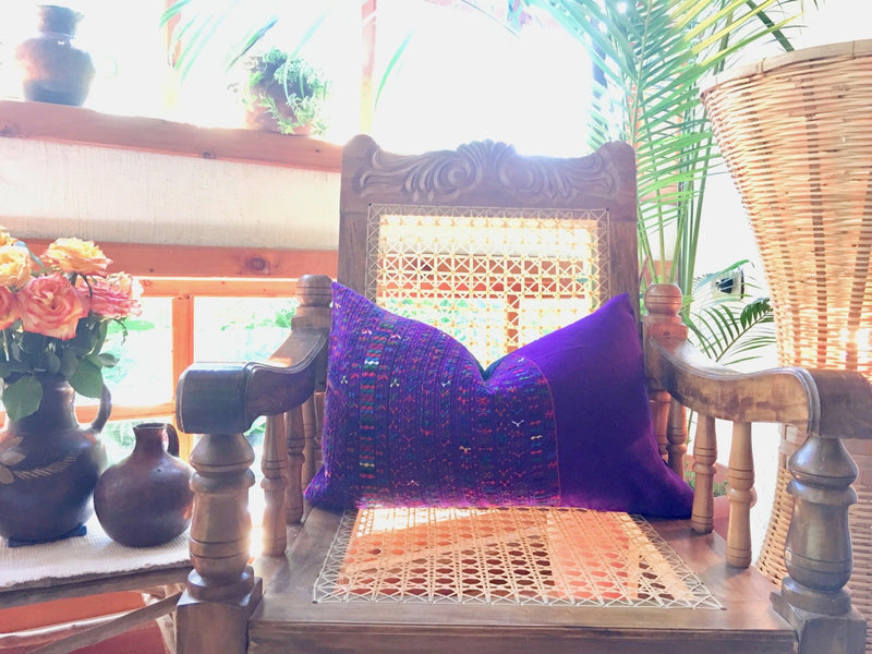Guatemalan Huipil Pillow, vintage, hand woven bright purple lumbar cushion from San Lucas