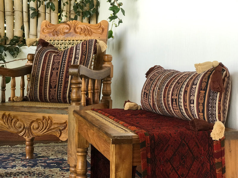 Guatemalan Textile Pillow, vintage, hand woven brown striped ikat throw cushion with tassels
