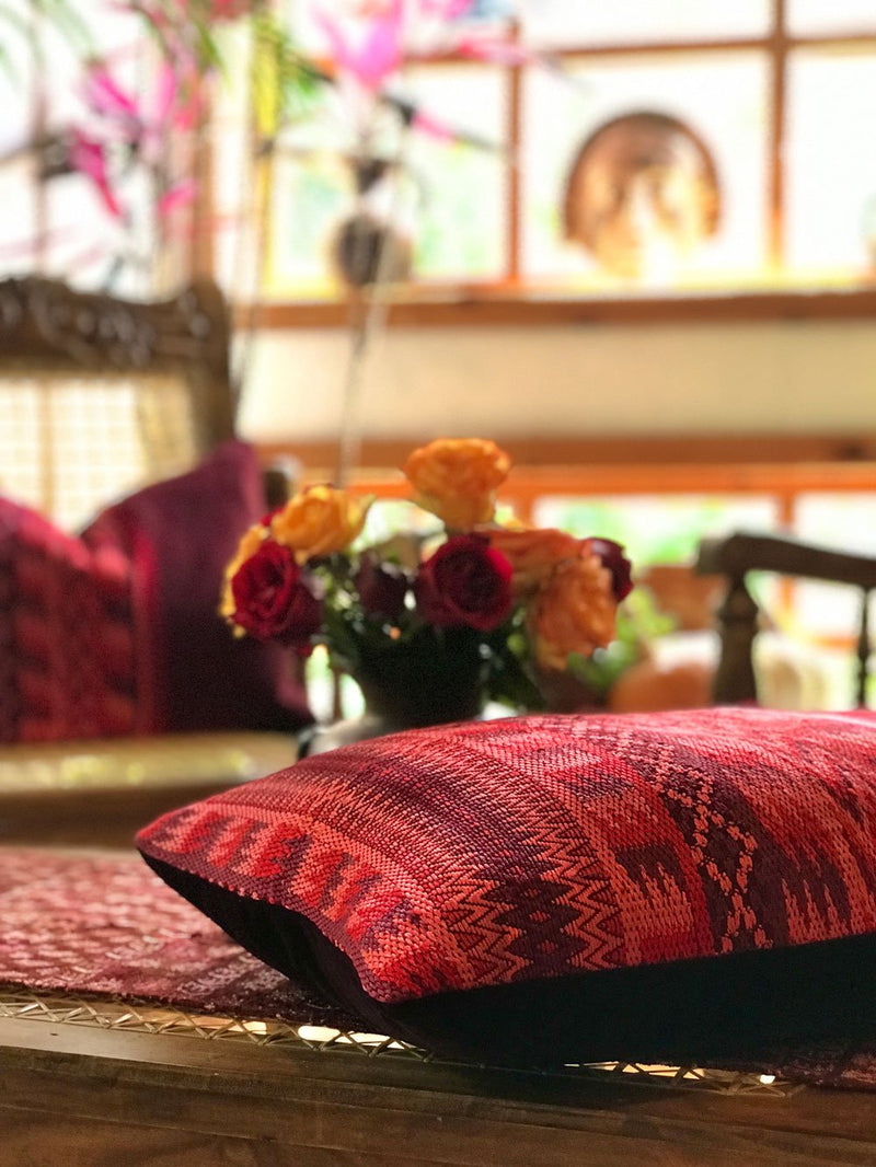 Guatemalan Huipil Pillow, vintage, hand woven red lumbar cushion from Santa Maria de Jesus