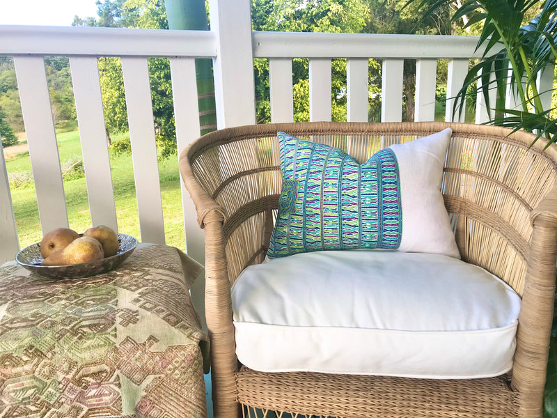 Guatemalan Huipil Pillow, vintage, hand woven blue and white lumbar cushion from San Juan Cotzal