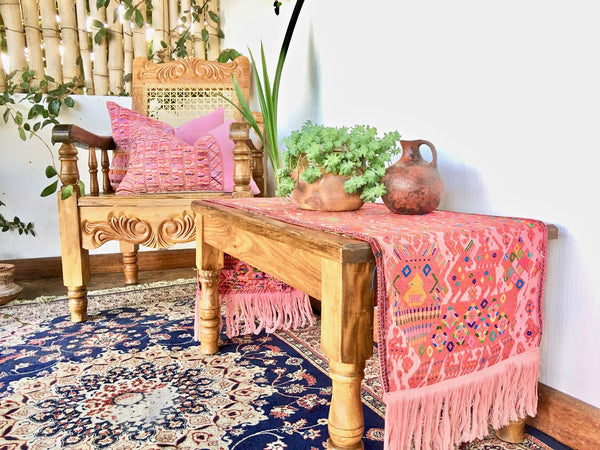 Guatemalan table runner, Huipil table runner, Pink boho table runner with fringe ~ Guatemalan textile