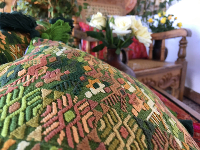Guatemalan pillow, Green Huipil pillow, Green embroidered tassel Pillows