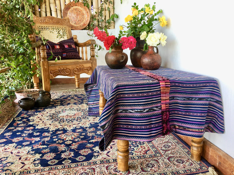 Guatemalan textile, Guatemalan table runner, Blue cotton throw blanket, Guatemalan corte with randa