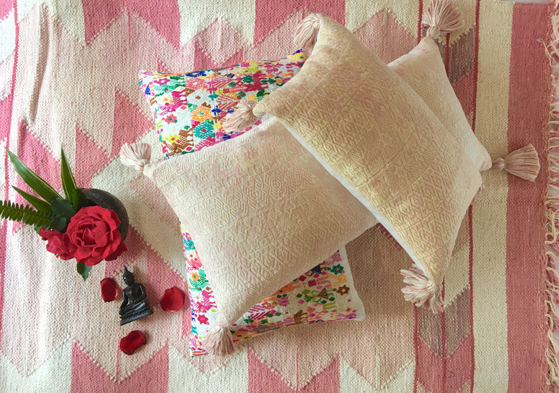 Guatemalan pillow, pink huipil pillow, Textured blush and cream designer pillow with tassels
