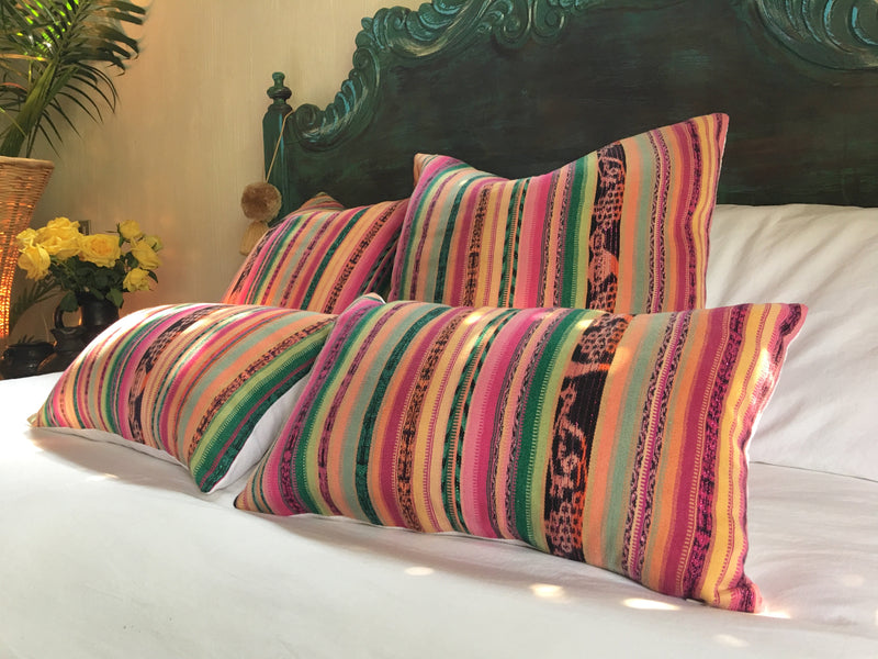 Guatemalan Textile Pillow, vintage, hand woven pink, green, yellow striped ikat throw cushion