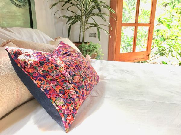 Guatemalan pillow, Pink Huipil pillow, pink hand embroidered vintage global pillow