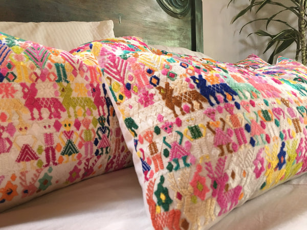 Guatemalan pillow | Huipil pillow | Colorful embroidered boho pillow | Tribal cushion
