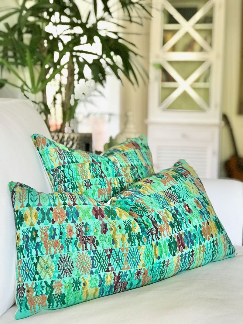 Guatemalan Huipil Pillow, vintage, hand woven colourful turquoise embroidered lumbar cushion from Coban