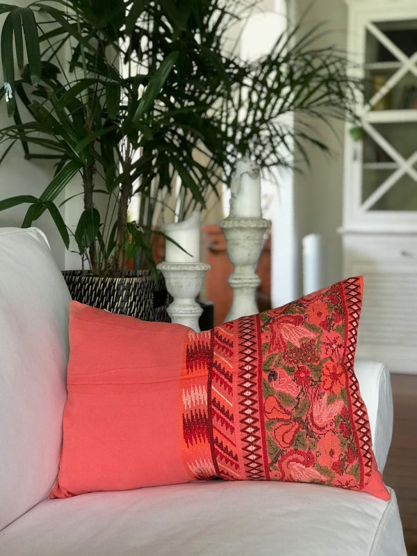 Guatemalan Huipil Pillow, Vintage, hand woven coral floral lumbar cushion from Aguas Calientas