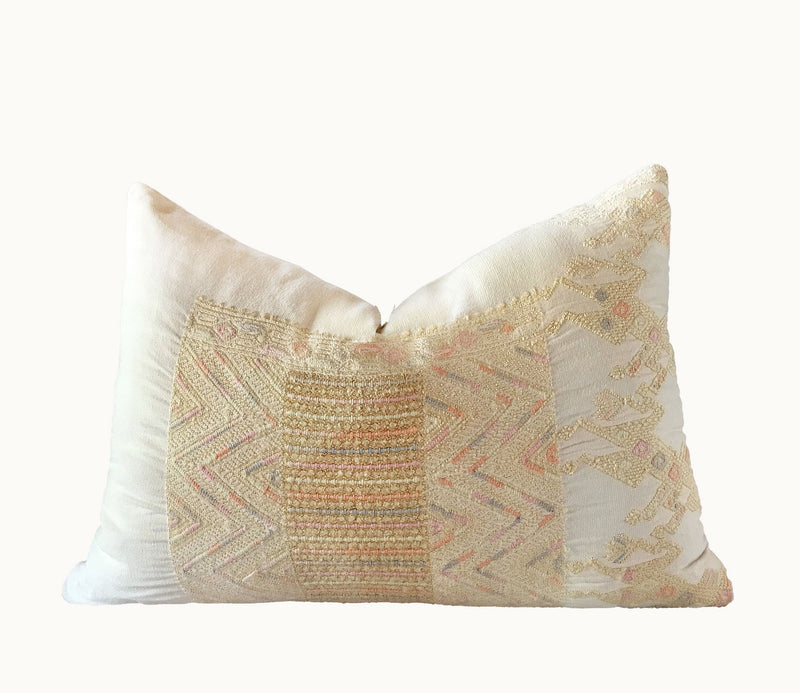 Yellow Guatemalan pillow, Huipil pillow, yellow embroidered boho pillow