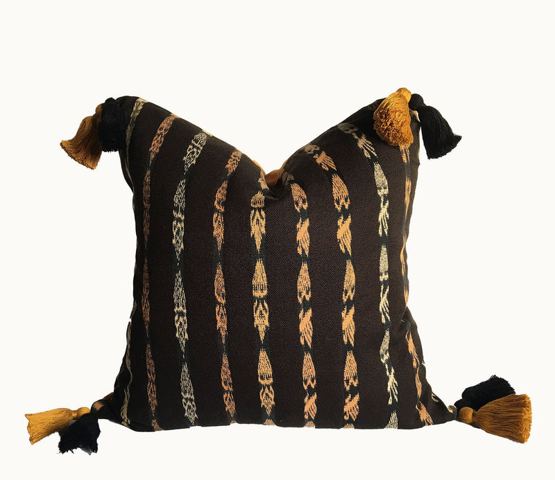 Guatemalan pillow, Black and mustard stripe boho pillow with tassels