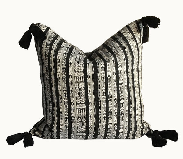 Guatemalan pillow, Black and white tassel pillow, ikat pillow, Striped boho cushion
