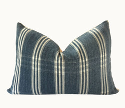 Guatemalan Textile Pillow, vintage hand woven blue and white striped lumbar cushion