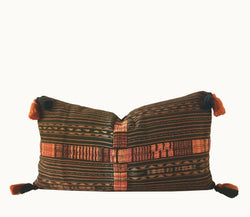 Guatemalan pillow, Guatemalan corte textile, Black and orange stiped ikat pillow, randa pillow,