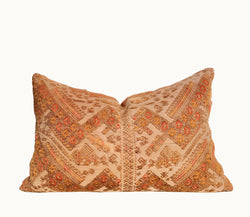 Guatemalan pillow, Orange huipil pillow, Embroidered lumbar pillow, Orange boho pillow