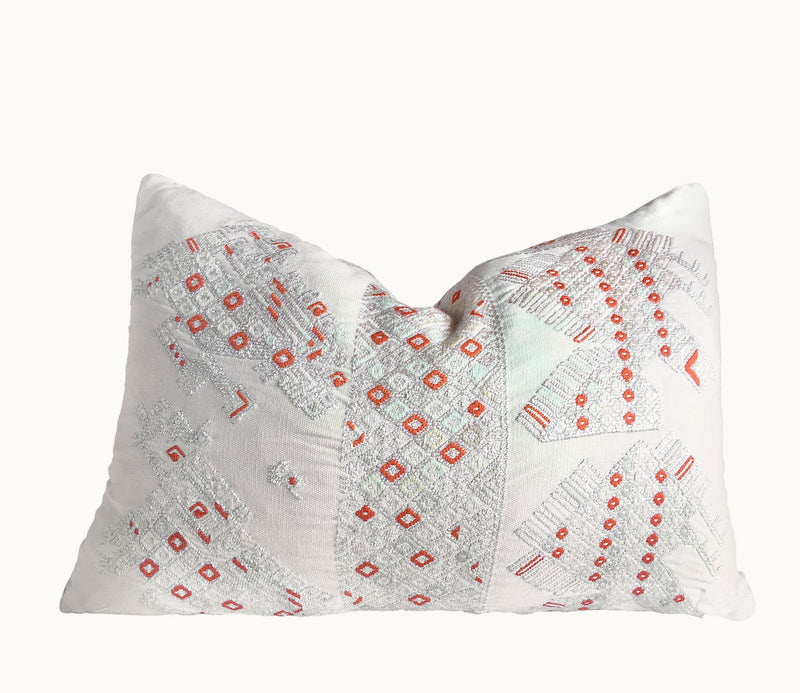 Guatemalan pillow | Huipil pillow | White and orange boho lumbar pillow | embroidered cushion