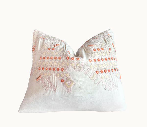 Guatemalan pillow | Huipil pillow | White and orange boho pillow | embroidered cushion