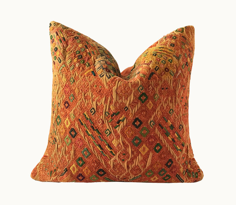 Guatemalan pillow | Orange Huipil pillow | embroidered boho pillow | orange moroccan cushion