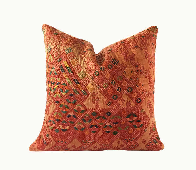 Guatemalan pillow, Orange huipil pillow, tribal throw pillow, artisan pillow, moroccan pillow,