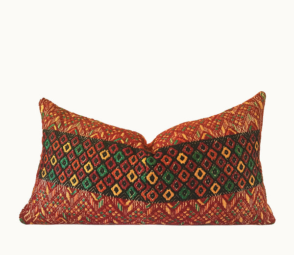 Burnt orange geometric tapestry lumbar pillow ~ Vintage Guatemalan huipil textile
