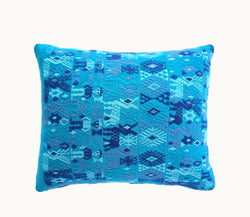 Guatemalan pillow, blue huipil pillow, blue boho pillow, beach pillow, coastal pillow
