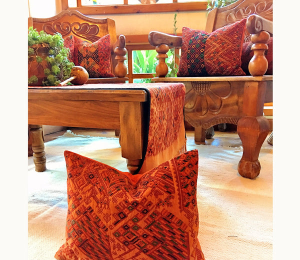 Guatemalan pillow, Orange huipil pillow, burnt orange boho lumbar pillow