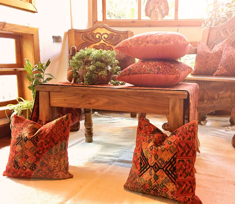 Guatemalan pillow, brown huipil pillow, designer pillow, dramatic throw pillow