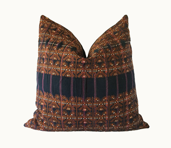 Guatemalan pillow, Huipil pillow, brown and blue boho pillow, Mayan pillow