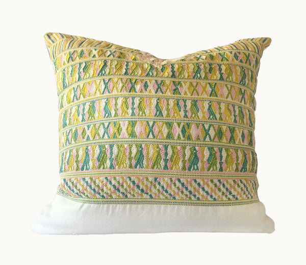 Guatemalan Huipil Pillow, vintage, hand woven green, pink and white lumbar cushion from San Juan Cotzal