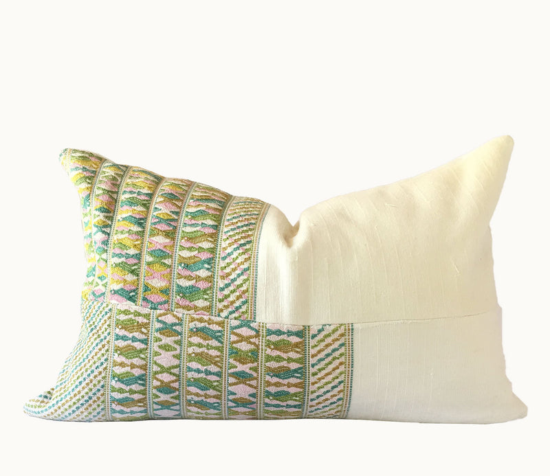 Guatemalan pillow, huipil pillow, pink and green global pillow, shabby chic pillow