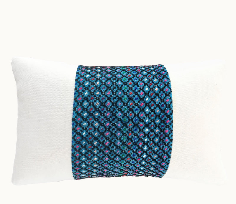 Guatemalan pillow, Huipil pillow, Blue and white coastal boho lumbar pillow