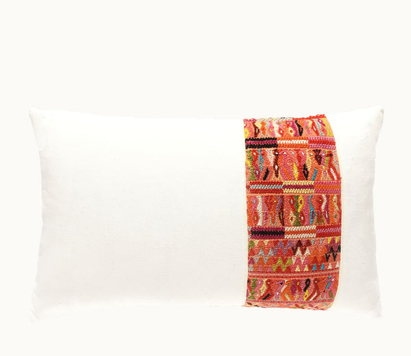 Guatemalan pillow, Huipil pillow, coral and white boho lumbar pillow