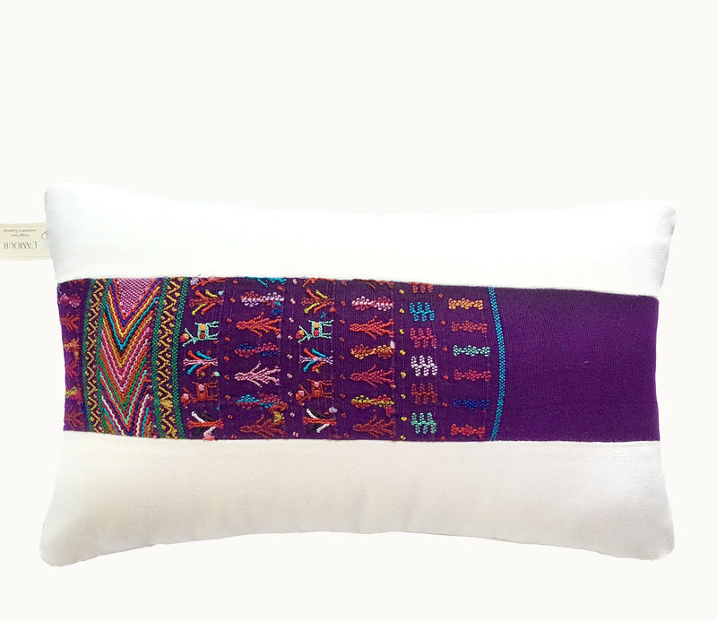 Guatemalan pillow, Huipil pillow, Purple and white hand embroidered modern boho pillow
