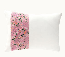 Guatemalan pillow, pink huipil pillow, Pink and white embroidered lumbar pillow