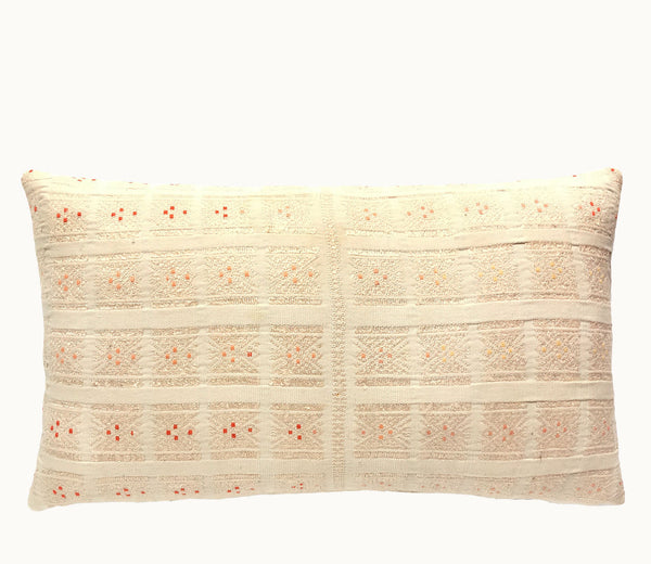 Guatemalan pillow | Huipil pillow | blush boho lumbar pillow | Embroidered cushion